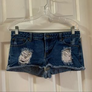 Forever 21 Medium Wash Distressed Jean Shorts 27